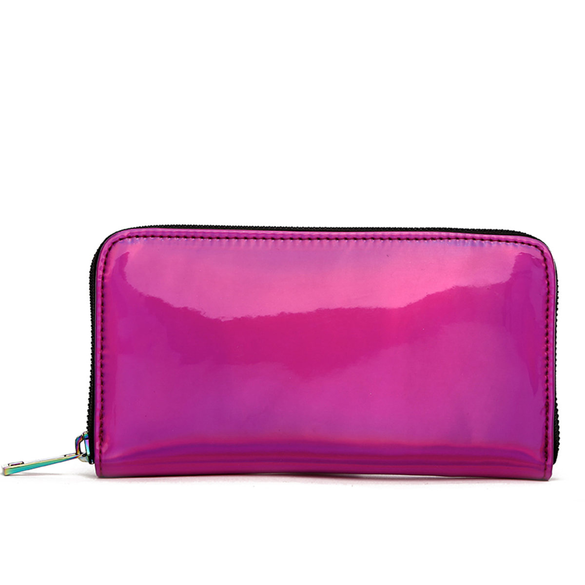 Hologram Zip Around Wallet with Rainbow Zipper Fuchsia